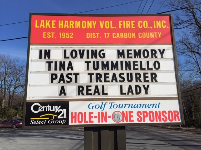 LAKE HARMONY FIRE COMPANY SADLY ANNOUNCES THE PASSING OF TINA TUMMINELLO