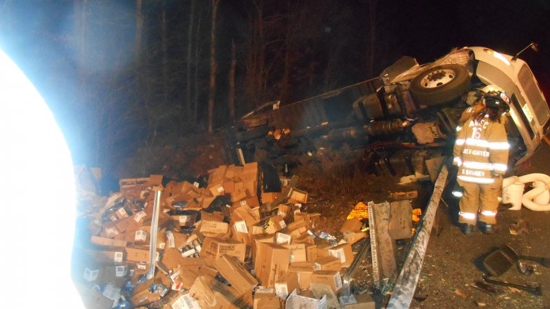 BOX TRUCK ROLLS ON ROUTE 80 AT DEAD MAN'S CURVE