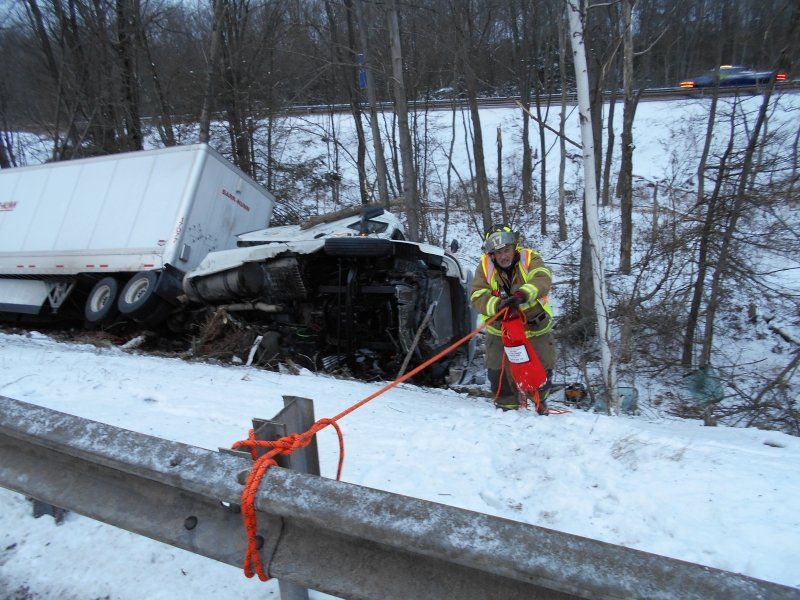 TRACTOR TRAILER CRASH ON THE INTERSTATE